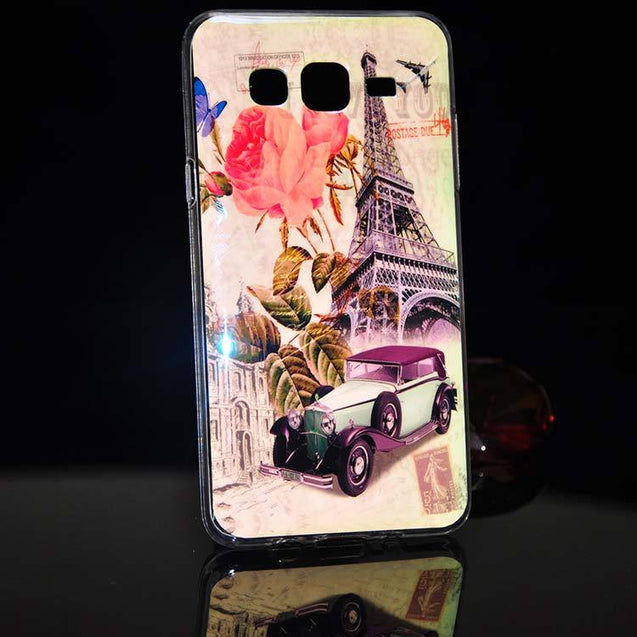 samsung galaxy on5 back cover tower with car design printed case