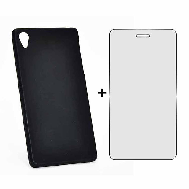 Sony Xperia Z2 Back Cover TPU Soft Back Case With Screen Guard Black
