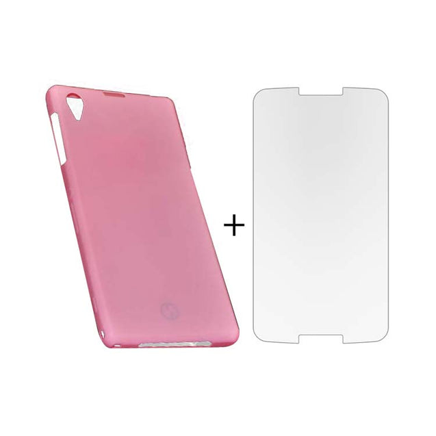 Sony Xperia Z1 Back Cover TPU Soft Back Case With Screen Guard Pink