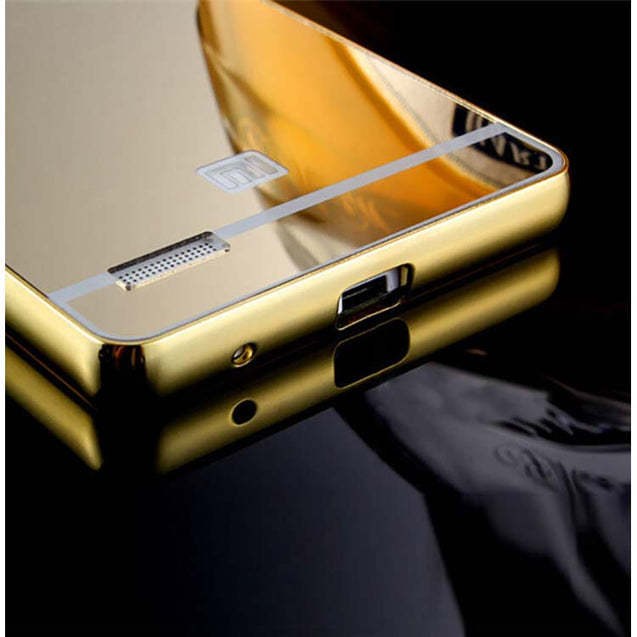 Xiaomi Redmi Note 4G / Redmi Note Cover Mirror Aluminium Metal Acrylic Back Case (Gold)