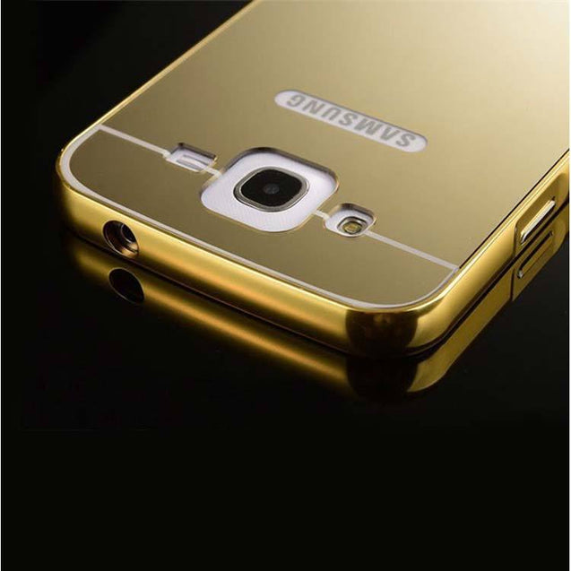 samsung galaxy j2 back cover mirror metallic back case cover gold