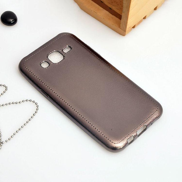 samsung galaxy j5 back cover leather tpu finish back cover case black
