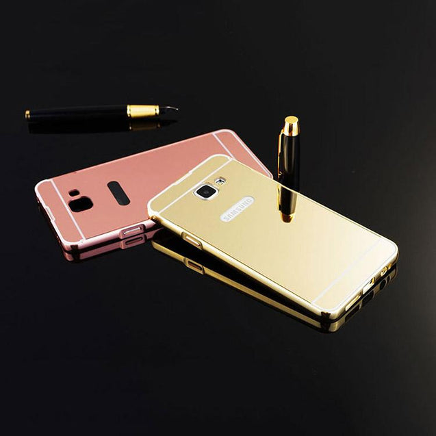 Samsung Galaxy A7 2016 Back Cover Mirror Aluminium Metal Acrylic Back Case Metallic (Gold)
