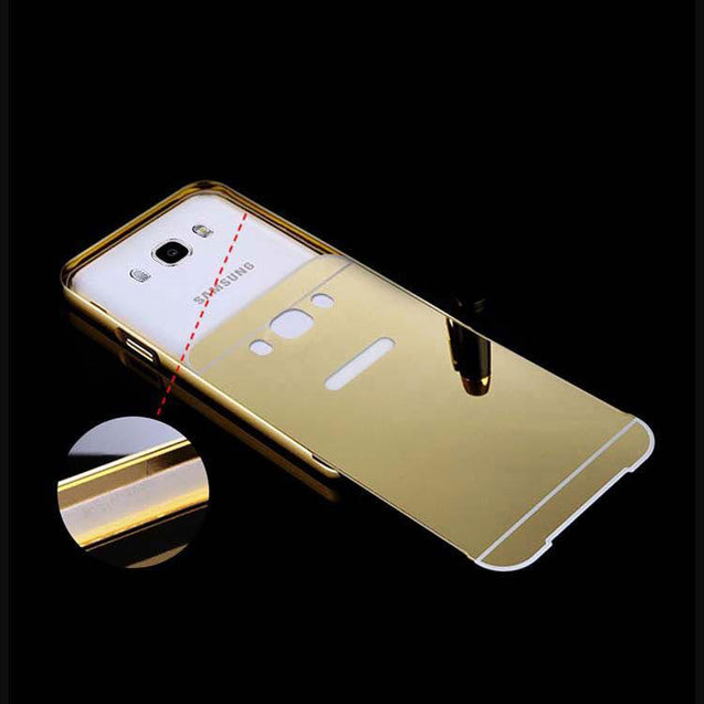 samsung galaxy j5 2016 back cover mirror metal acrylic back case gold