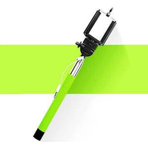 selfie stick extendable handheld wired with aux cable green