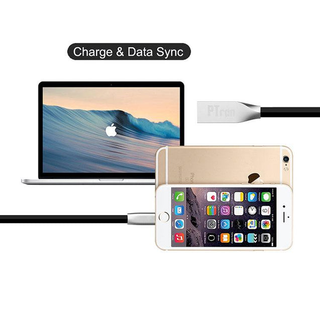 PTron Double Sided Stainless Steel 2 in 1 USB 2.4 Amp High Capacity Data Cable Sync Charging Cable For Samsung Galaxy j7 Max