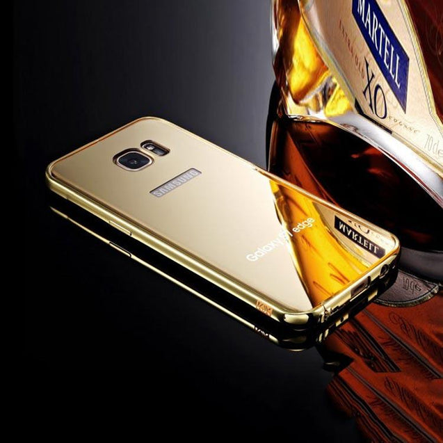 Samsung Galaxy S7 Edge Back Cover Mirror Metallic Acrylic Back Case Gold