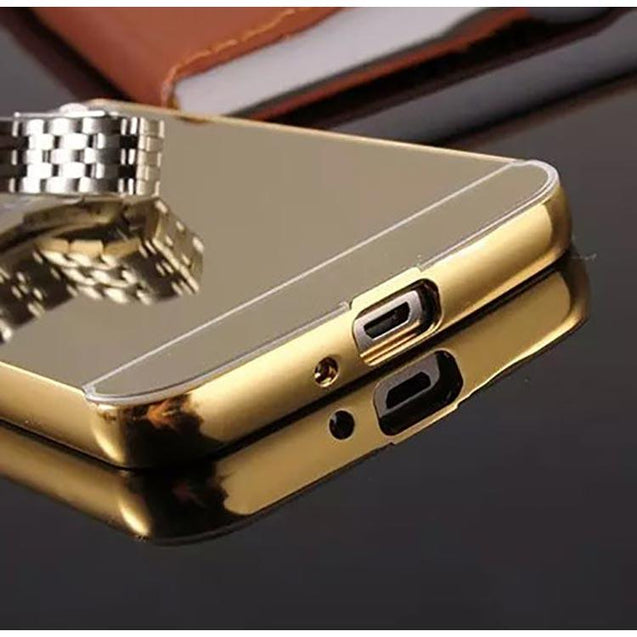 Samsung Galaxy Grand Neo Back Cover Mirror Aluminium Metal Acrylic Back Case Metallic Gold