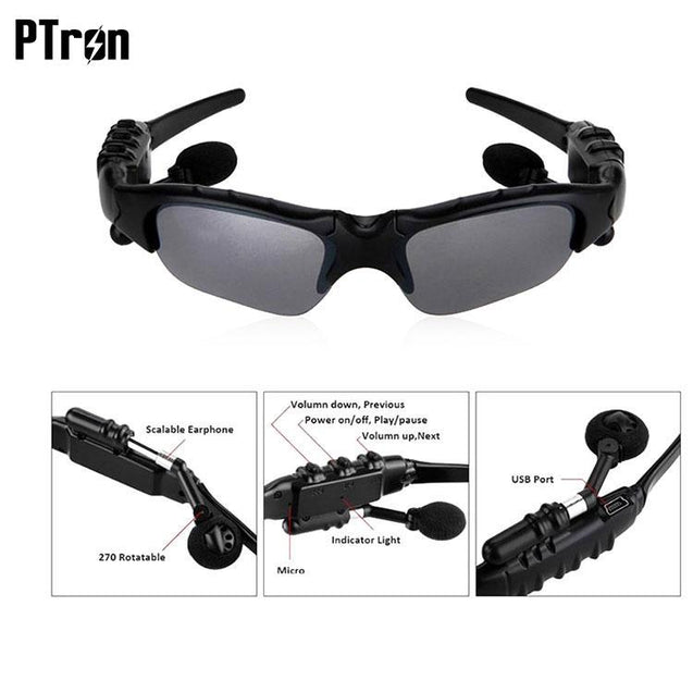 PTron Viki Bluetooth Headset Sunglasses For Samsung Galaxy On7 Prime (Black)
