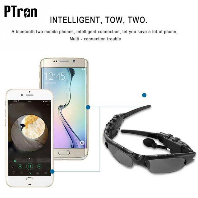 PTron Viki Bluetooth Headset Sunglasses For Samsung Galaxy A8 (2018) (Black)