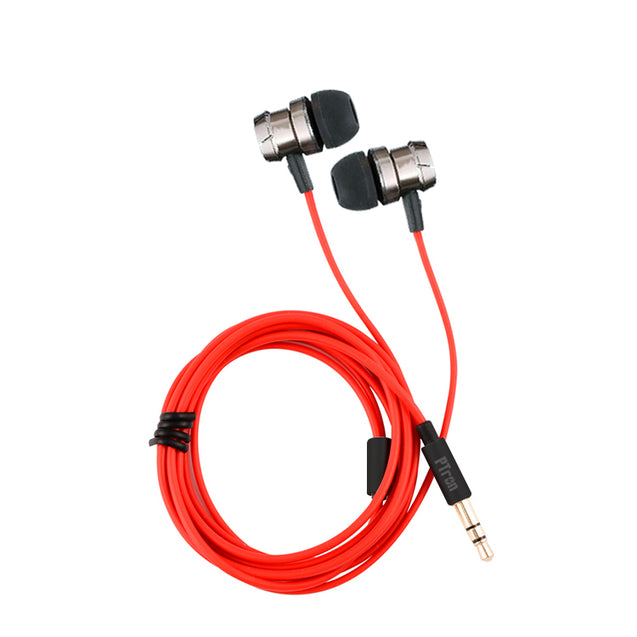 PTron HBE6 Earphone Metal Bass Headphone With Mic For Xiaomi Mi 7 (Black & Red)