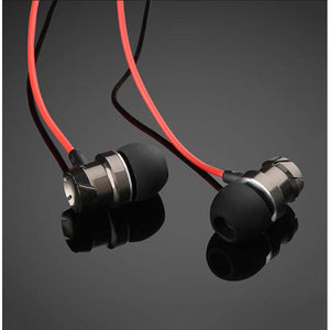 PTron HBE6 Metal Bass Earphone With Mic For Oppo A30 (Black & Red)