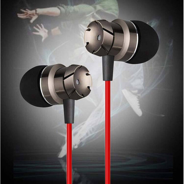 PTron HBE6 Metal Bass Earphone With Mic For Huawei Honor 7X (Black & Red)