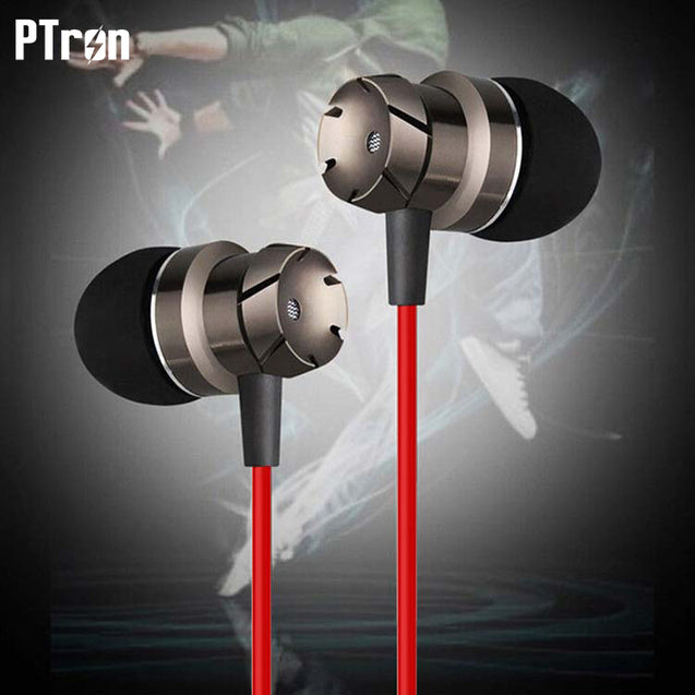 PTron HBE6 Metal Bass Earphone With Mic For All iPhone Mobile's (Black & Red)