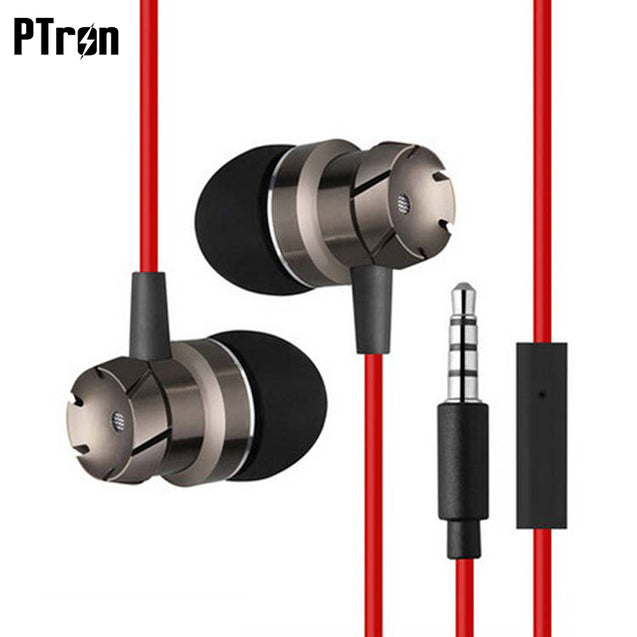 PTron HBE6 Metal Bass Earphone With Mic For Nokia 1 (Black & Red)