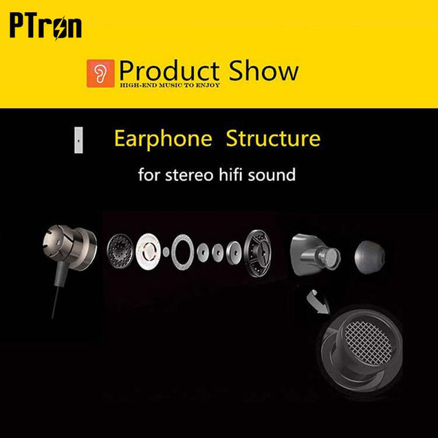 PTron HBE6 Metal Bass Earphone With Mic For Nokia 5 (Black & Red)