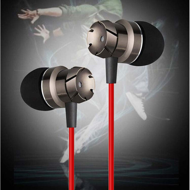 PTron HBE6 Metal Bass Earphone With Mic For Oppo A53 (Black & Red)