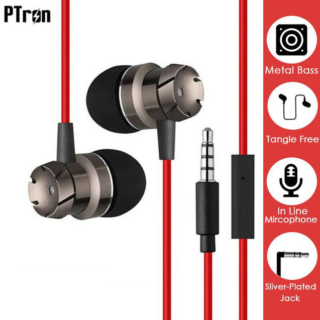 PTron HBE6 Metal Bass Earphone With Mic For Samsung Galaxy Tab E 8.0 (Black & Red)