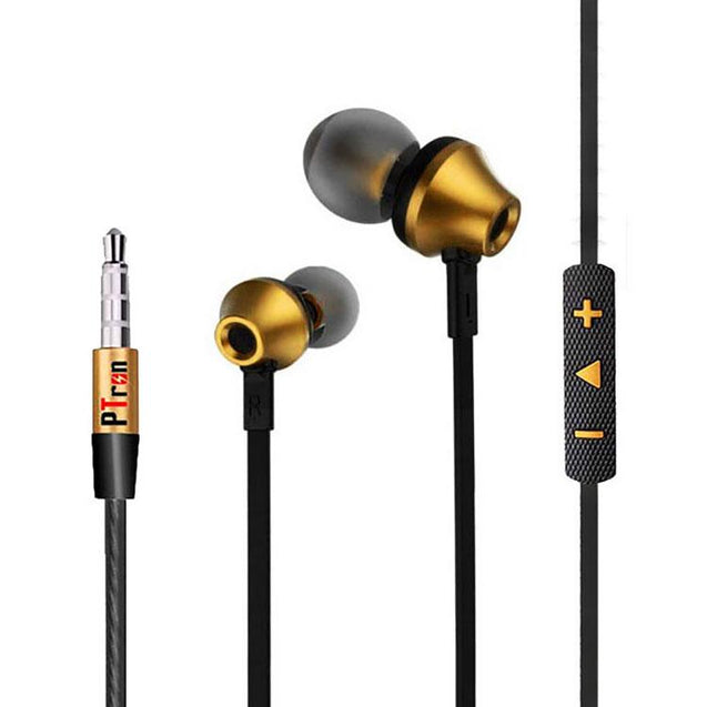 PTron HBE9 Headphone For Xiaomi Redmi Note 3 Stereo In Ear Earphone With 3.5mm Jack (Gold)