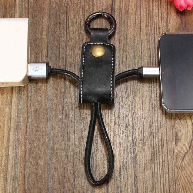 USB Data Cable Charger Keychain Design Charging Cable For Android Smartphones (Black)