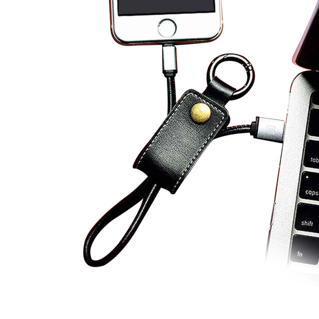 USB Data Cable Charger Keychain Design Charging Cable For iOS Smartphones (Black)