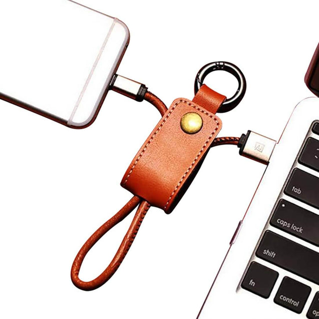 USB Data Cable Charger Keychain Design Charging Cable For iOS Smartphones (Brown)