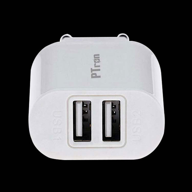 PTron Universal 2A 2 Port USB Travel Charger Adapter Compatible For All Smartphones (White)