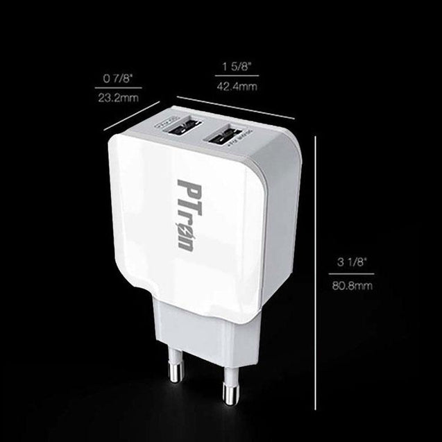PTron Universal 2 Port USB Travel Charger adapter Compatible For All Smartphones & Devices (White)