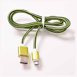 PTron USB To Micro USB Weave Data Transfer Sync Charging Cable For All Android Smartphones (Green)