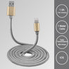 PTron Falcon 1.5A USB Lightning Cable Metal Cable Data Sync Charger For All iOS Smartphones (Gold)
