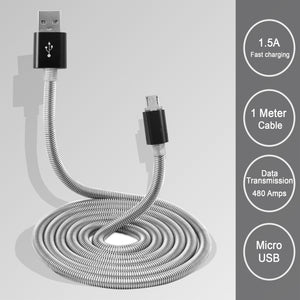 PTron Falcon 1.5A USB Micro USB Cable Metal Cable Data Sync Charger For All Android Smartphones (Black)