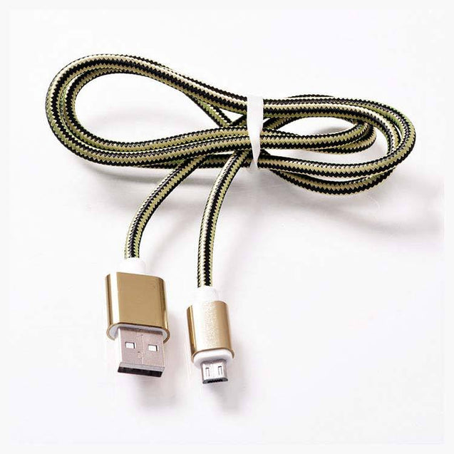 PTron USB To Micro USB Weave Data Transfer Sync Charging Cable For All Android Smartphones (Gold)