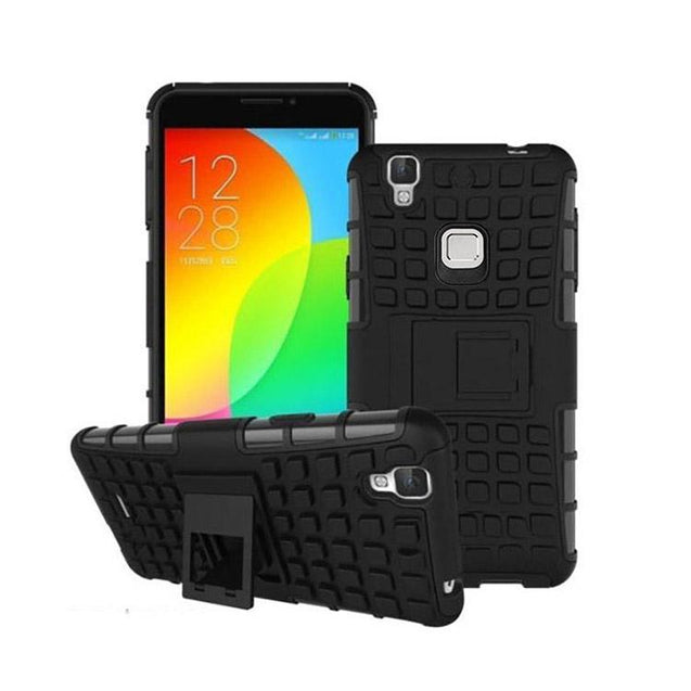 Vivo V3 Back Cover Defender Case Hybrid Hard Back Case (Black)
