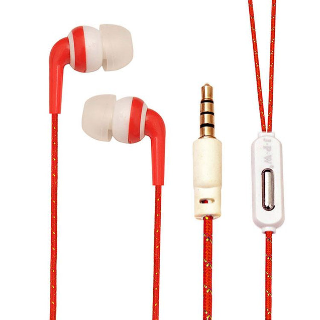 Universal In Ear Earphones With Mic 3.5mm Jack Compatible For All Smartphones (Red/Gold)