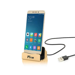 PTron Cradle Docking Station Charger Stand Adapter With Micro USB For All Android Phones (Gold)