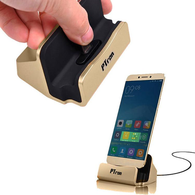 PTron Cradle Docking Station Charger Stand Adapter With Micro USB For Android Phones (Gold)