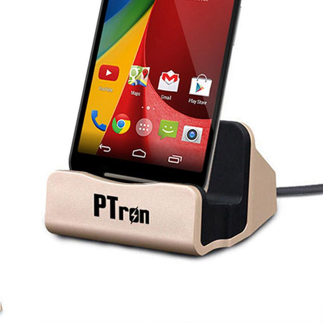 PTron Cradle Docking Station Charger Stand Adapter With Micro USB For Motorola Moto G2 (Gold)