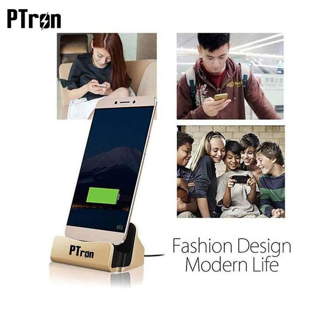 PTron Cradle Docking Station Charger Stand Adapter With Micro USB For Oppo F1s (Gold)
