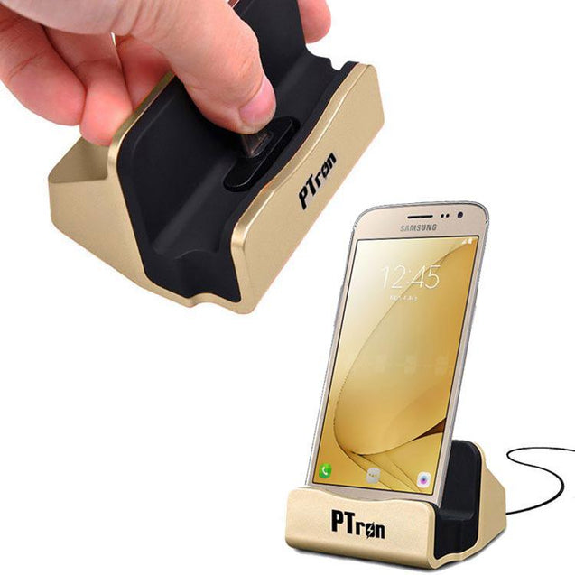 PTron Cradle Docking Station Charger Stand Adapter With Micro USB For Samsung Galaxy J7 Prime (Gold)