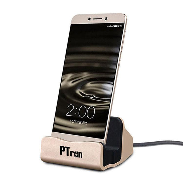 PTron Cradle Docking Station Charger Stand Adapter With Micro USB For Vivo Y51L (Gold)