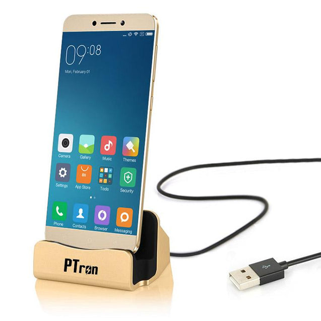 PTron Docking Station Charger Stand Adapter With Micro USB For All Xiaomi Redmi Smartphones (Gold)