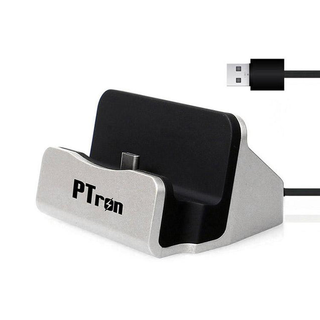 PTron Cradle Docking Station Charger adapter Micro USB For All Android Phones Black & Silver