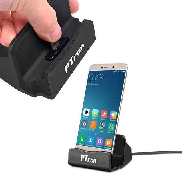 PTron Cradle  Docking Station Charger Stand Adapter With Micro USB For OPPO A37 (Black)