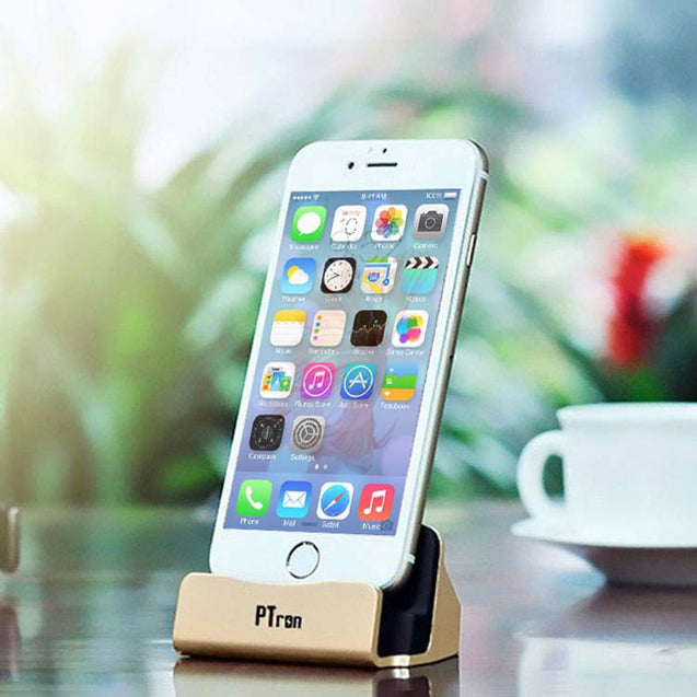PTron Cradle USB Docking Station Charger For iPhone 5 5s 6 6s SE 6 plus 6s Plus 7 7Plus (Gold)