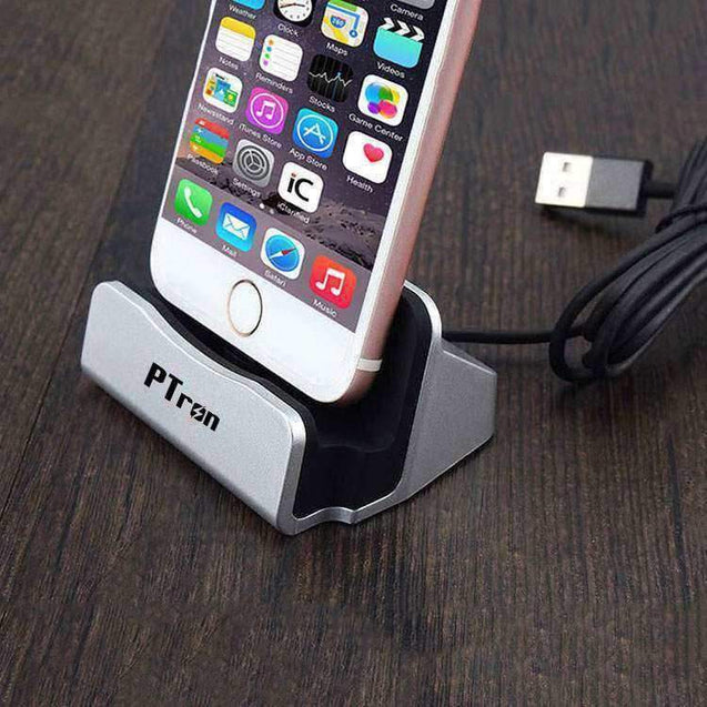 PTron Cradle USB Docking Station Charger For iPhone 5 5s 6 6s SE 6 plus 6s Plus 7 7Plus (Silver)