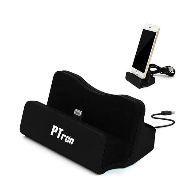 PTron Cradle USB To Lightning USB Docking Charger  For iPhone 5 5s 6 6s 6 plus Smartphones Black