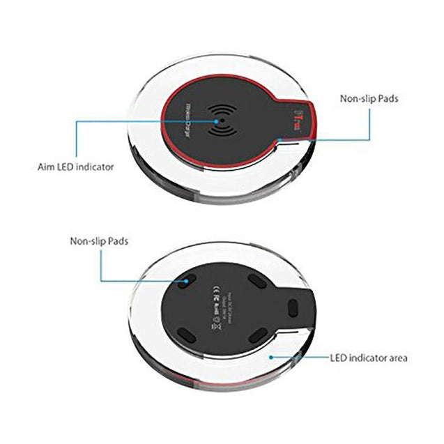 PTron Jasper Wireless Charger Ultra Thin Pad For Iphone 8 Plus (Black/Red)