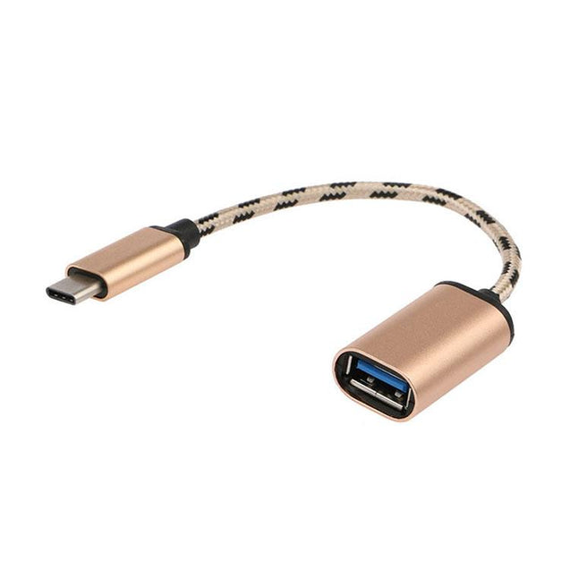 Type C Male To USB Female OTG Converter Cable Adapter For All Type C Compatible Smartphones (Gold)