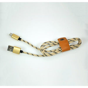 PTron Micro USB To USB Weave Data Cable Sync Charging Cable For All Android Smartphones (Gold)