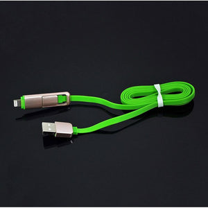 PTron 2 In 1 USB To Micro USB & Lightning Data Cable Sync Charging Flat Cable For All Smartphones Green